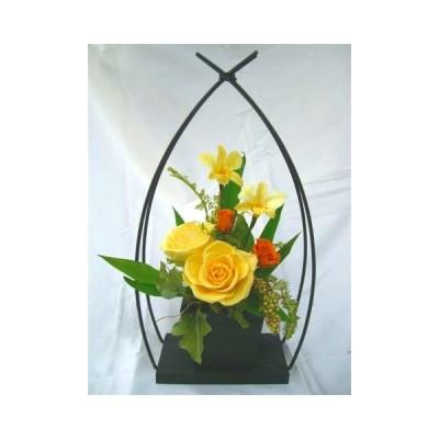 プリザーブドフラワー花和風やわらぎ黄色いバラのアレンジ