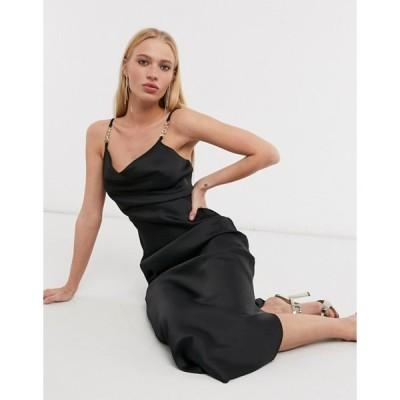 リバーアイランド レディース ワンピース トップス River Island strappy trim midi slip dress in black