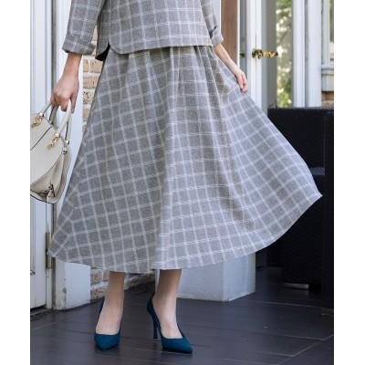 【洗える】美フレアシルエットの、チェック柄マキシスカート