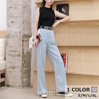 1色パンツ2020年夏新作ワイドパンツハイウエストウエストゴム肩出しトレンド感MAX清潔感素敵お洒落韓国ファッション