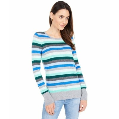 ヴィンスカムート ニット&セーター アウター レディース Long Sleeve Multi Stripe Pullover Sweater Deep Evergreen