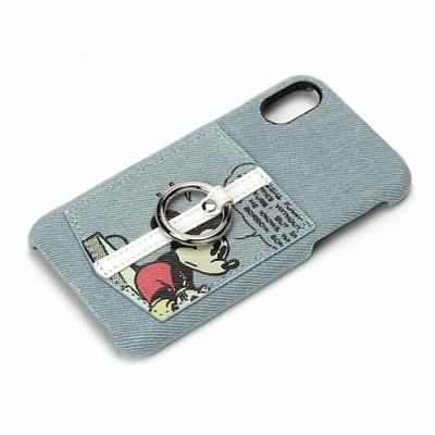 iPhone XS iPhone X 共通 ハードケース ポケット リング付 ミッキーマウス デニム 4562358132919 [▲][G]