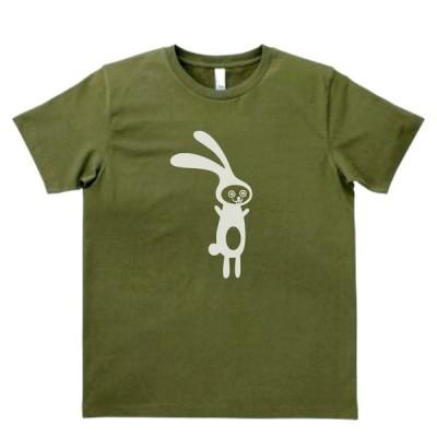 動物・生き物 Tシャツ 変なウサギ カーキー MLサイズ