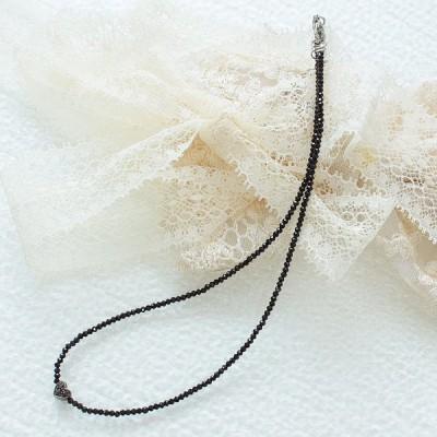 ネックレス レディース ブラックスピネル ハート ブラックダイヤモンド 天然石 シンプル パワーストーン