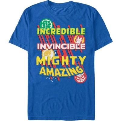 マーベル Marvel メンズ Tシャツ トップス Comic Collection Powerful Word Stack Short Sleeve T-Shirt Royal