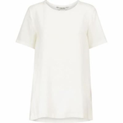 マックスマーラ S Max Mara レディース Tシャツ トップス Oria silk canvas T-shirt Weiss