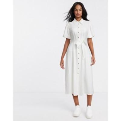 リバーアイランド レディース ワンピース トップス River Island short sleeve midi shirt dress in white White