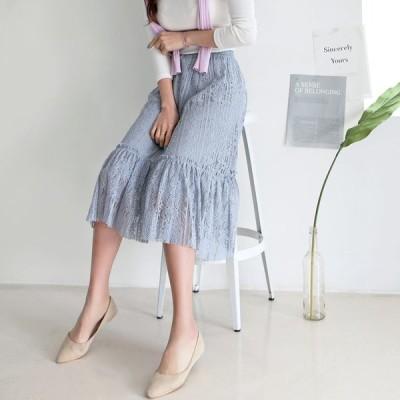 レーススカート  フレアスカート  花柄 フラワー  フリル  スカート
