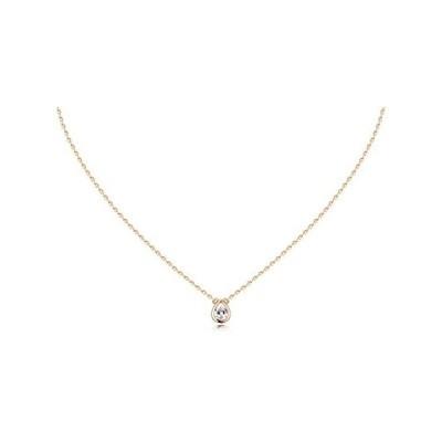 [lady like (レディライク)]シルバー925 一粒 ミニマル CZダイヤ ネックレス 40cm (3×4mm・ゴールド)