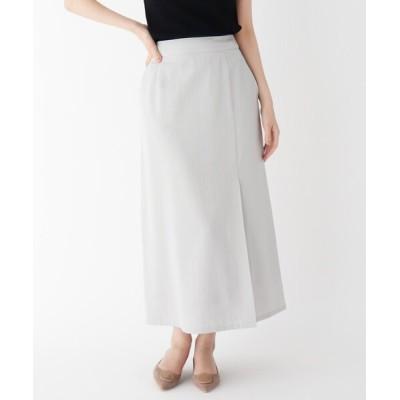 スカート 【大きいサイズあり・15号】ラップ風マットサテンスカート
