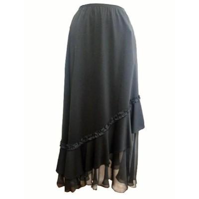 通年 スカート 9号 黒(トクコ TOKUKO レナウン)斜め切り替え