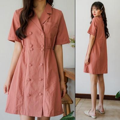 驚きの特価👗韓国ファッションカジュアルECサイト1位 ENVYLOOK💖リネン混ダブルボタンテーラードカラーワンピース💖ONE COLOR 送料無料