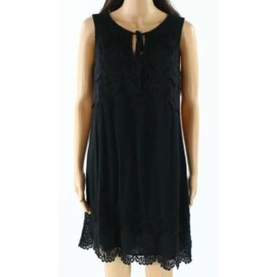 Sanctuary サンクチュアリ ファッション ドレス Sanctuary NEW Black Tie-Neck Womens Size XS Crochet-Lace Shift Dress