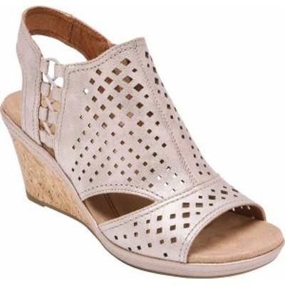 ロックポート レディース サンダル シューズ Women's Rockport Cobb Hill Janna Side Bungee Wedge Sandal Metallic Leather