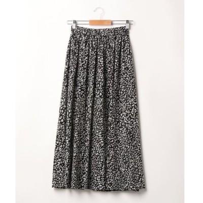 スカート レオパード柄ギャザー/スカート