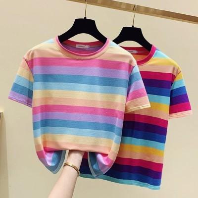 レディーストップス着痩せTシャツストライプ半袖虹丸首カジュアルTシャツきれいめゆったりワイド細身着回しソフト可愛い