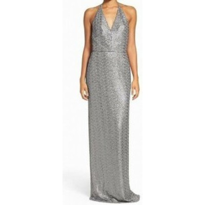 Amsale アムサーラ ファッション ドレス Amsale Womens Gown Gray Size 6 Surplice Neck Sequin Mesh Tie-Neck