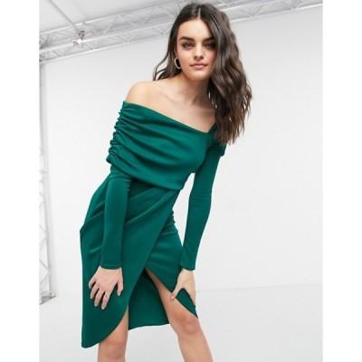 エイソス レディース ワンピース トップス ASOS DESIGN bare shoulder wrap pencil midi dress in forest green