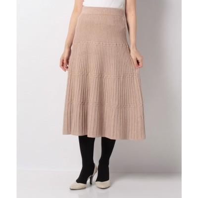 Rewde ニットプリーツ切替スカート(0R10-CK193)(ベージュ)