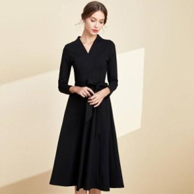 ドレス シフォンドレス ワンピース 大きいサイズ Vネック Aライン 無地 ひざ下丈 ワンピ レディース