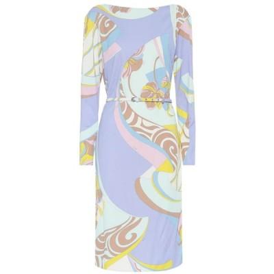 エミリオ プッチ Emilio Pucci レディース ワンピース ワンピース・ドレス Printed silk-blend dress Giallo/Aqua