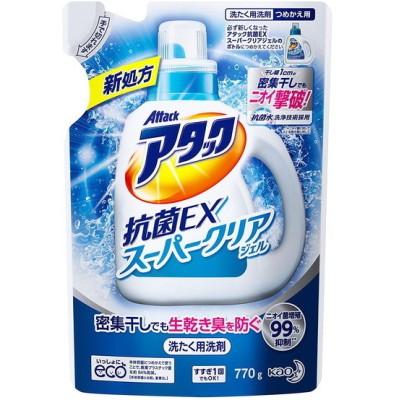 花王 アタック 洗濯洗剤 液体 抗菌EXスーパークリアジェル 詰替 770g 衣料用洗剤・仕上げ剤