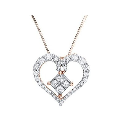 AFFY White Natural Diamond Heart Pendant Necklace in 10k Solid Gold (0.5 ct並行輸入品