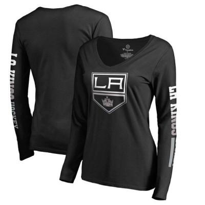 ファナティクス ブランデッド レディース Tシャツ トップス Los Angeles Kings Fanatics Branded Women's Gradient Logo Long Sleeve V-Neck T-Shirt