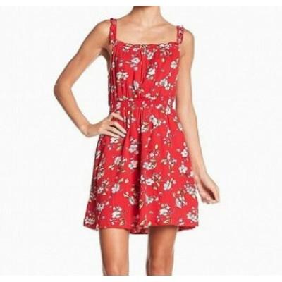 Red  ファッション ドレス Abound Womens Floral Print Ruffled Smocked Red Medium M Sheath Dress