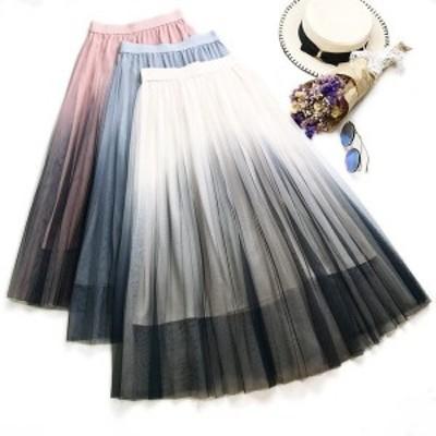 チュールスカートスカートマキシロングスカートフレアスカートウエストゴムマキシスカートスカートボリュームファッション代引不可