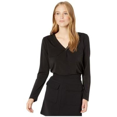 マイケルスターズ レディース シャツ トップス Cambria Crepe Knit Lena Long Sleeve Shirt with Pleats