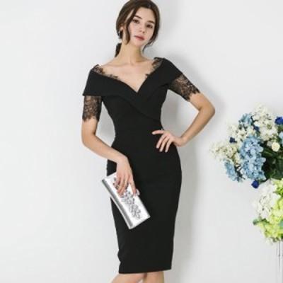 韓国 パーティードレス レース 深Vネック ワンピースドレス 大きいサイズ タイト ボディコン ドレス セクシー お呼ばれ 結婚式