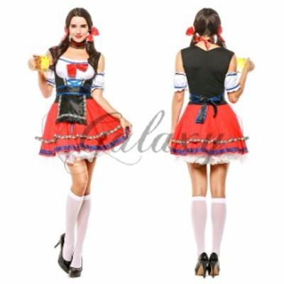 ハロウィン ビールガール 民族衣装 ディアンドル チロリアン ドイツ メイド 大きいサイズ コスプレ衣装 ps3336
