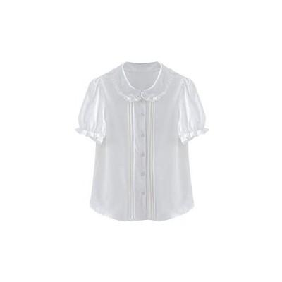 レディース ブラウス ロリータ シャツ 半袖 トップス 夏 可愛 白 黒 (ホワイト S)