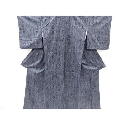 リサイクル 幾何学に花更紗模様織り出し西陣お召着物アンサンブル