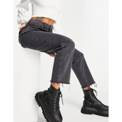 ニュールック レディース デニムパンツ ボトムス New Look straight-leg jeans in black Black