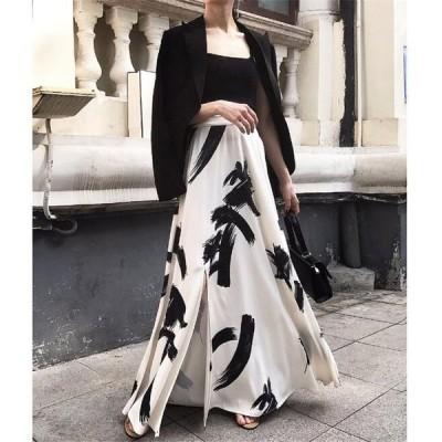 シフォンマキシスカート 花柄 選べる2丈 ロング丈 &9分丈 韓国ファッション春夏 リボンベルト ひざ丈