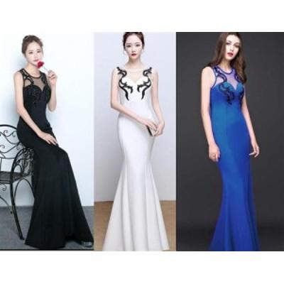 ワンランク上のドレス!エレガントな欧米style!胸元ストーン装飾デザインフレアーロングドレス キャバドレス パーティードレス