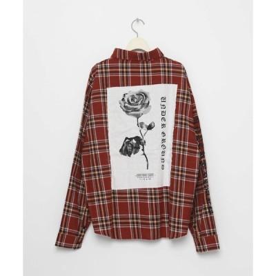 シャツ ブラウス ROSE オーバーサイズチェックシャツ