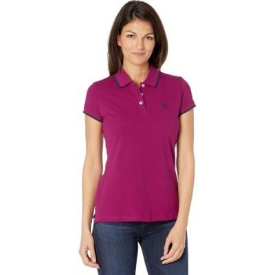 ユーエスポロアッスン U.S. POLO ASSN. レディース ポロシャツ トップス Classic Stretch Pique Polo Shirt Ripe Berry Purple/Navy