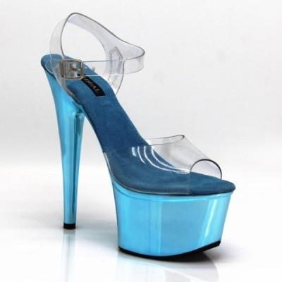 17cmピンヒール クリア,めっき 青色 ホログラフィック グリッター