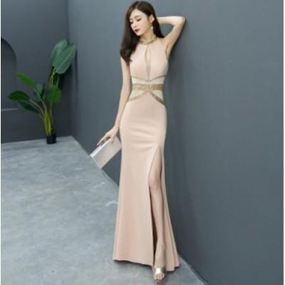 フェミニン スリット パーティードレス お呼ばれドレス 優雅 マーメイドライン ロングドレス フェミニン フォマールドレス 着痩せ