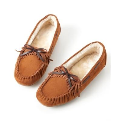 【ゆったり幅】フリンジリボンフェイクファーモカシンシューズ(低反発中敷)(選べるワイズ) シューズ(フラットシューズ) Shoes