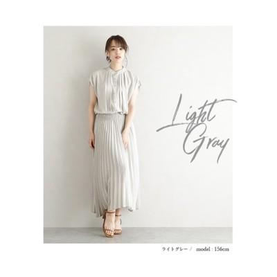 【la-gemme】バンドカラープリーツワンピース (ワンピース)Dress
