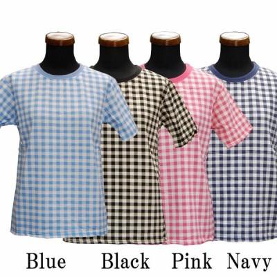 【素敵なファッション】ギンガムチェック半袖トップス
