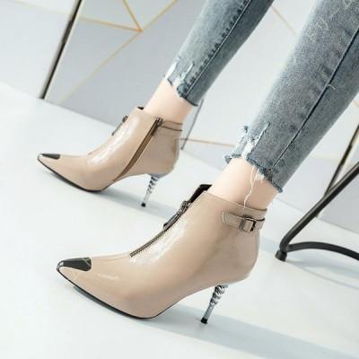 ブーツ ショートブーツ レディース ピンヒール 大人 可愛い ポインテッドトゥ ジップ 美脚 エレガント 脱ぎやすい 履きやすい 歩きやすい 合わせやすい