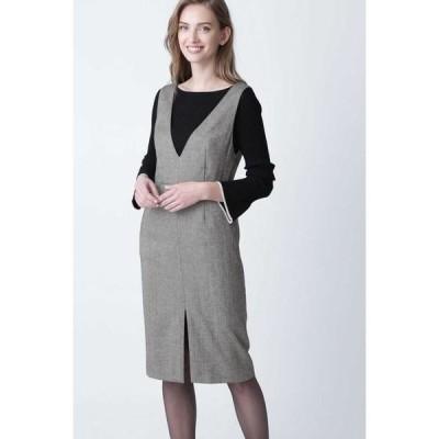 PINKY & DIANNE / ピンキーアンドダイアン ◆ウールヘリンボーンジャンパースカート