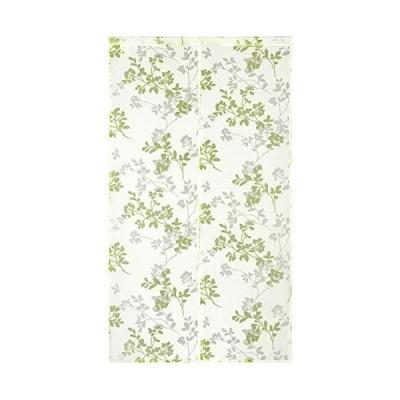 SunnyDayFabric のれん オパール暖簾 ブランチ 葉 グリーン 約幅85cm×丈150cm