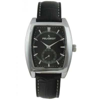 プジョー 腕時計 メンズウォッチ Peugeot Men's 2027BK Black Leather Strap Sweep Dial Watch