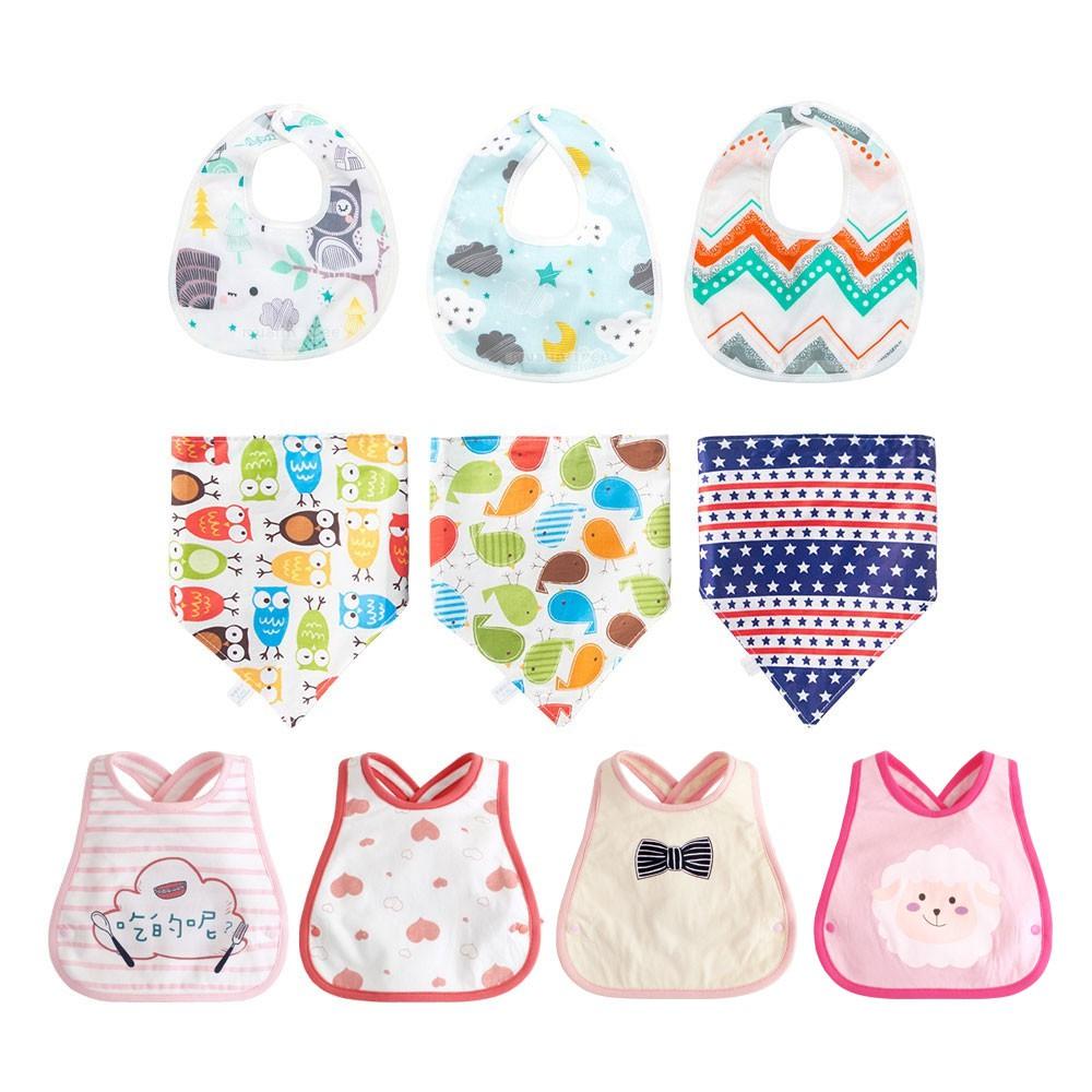 Augelute Baby 純棉口水巾 6層棉質圍兜 嬰幼兒 環保印花 防髒 男寶寶 女寶寶 60369
